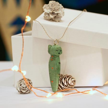 Zuni Corn Maiden Pendant by Sandra Quandelacy