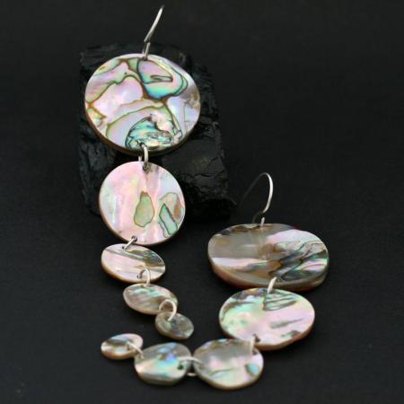Red Abalone Circle earrings by Leah Mata, Chumash Nation, CA USA