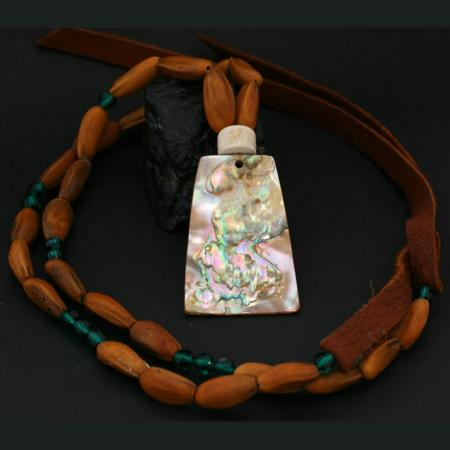 Red Abalone Necklace by Leah Mata, Chumash
