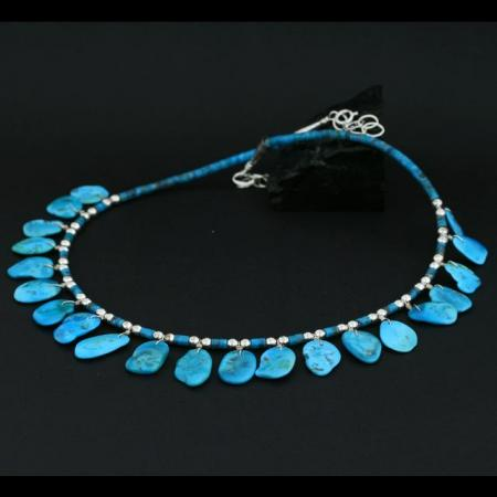 Turquoise Tab Necklace by Janie Chavez