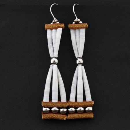 Hourglass dentalium shell earrings by Mikayla Patton
