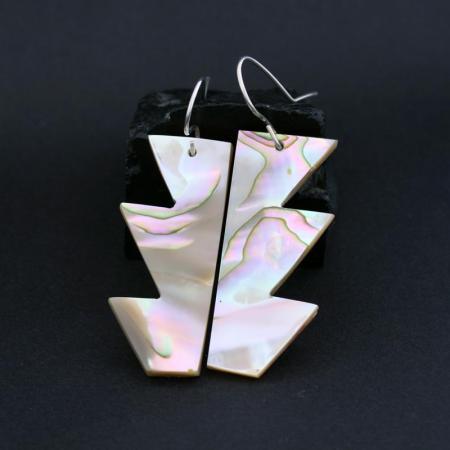 Chumash Abalone Basket Earrings by Leah Mata