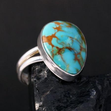 Kingman Turquoise Ring by Harvey & Janie Chavez
