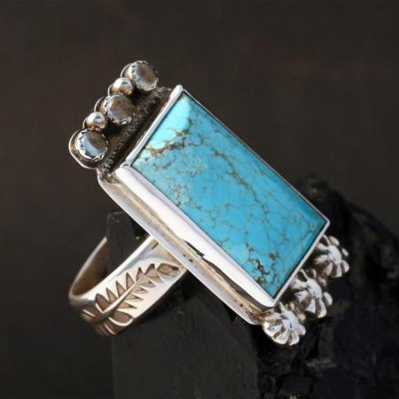 Kingman Spiderweb Turquoise Ring with aqua marine by Joshua Concha, Taos Pueblo.