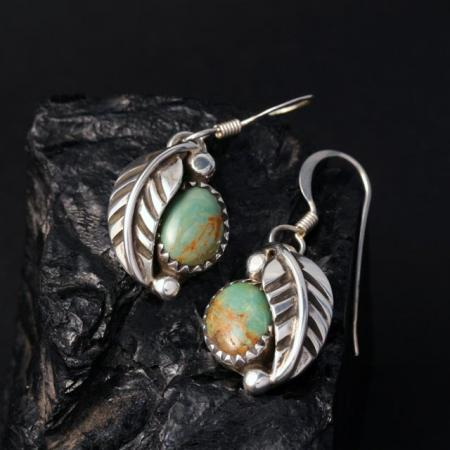 Green turquoise leaf earrings by James Eustace