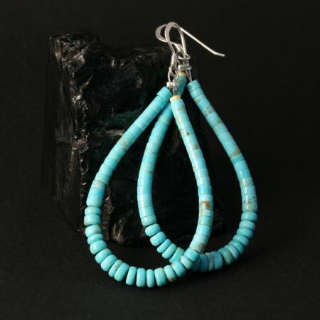 Turquoise Heishi Loop Earrings by Marcia Garcia