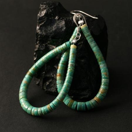 Green Heishi Earrings by Marcia Garcia