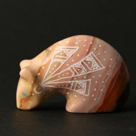 Zuni Bear Fetish carved from dodlomite by Garrick Acque