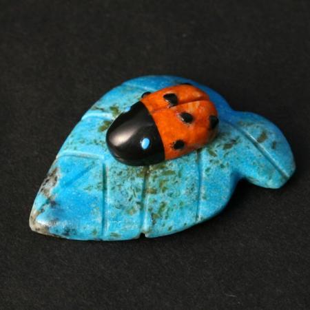 Ladybird on leaf by Georgette Quam, Zuni.