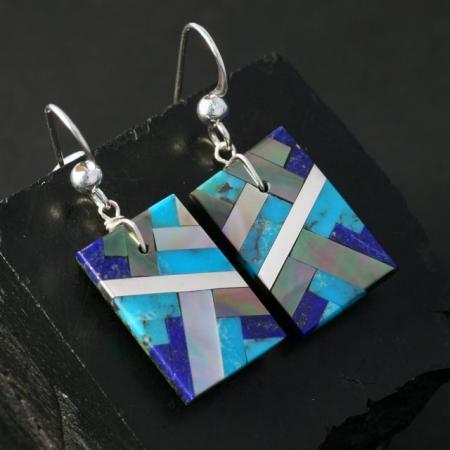 Turquoise & Lapis Lazuli Earrings by Stephanie Medina