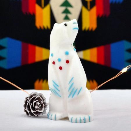 Zuni fetish, white Bear standing by Mike Lanska, Zuni