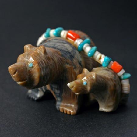 Mother Bear with Cub by Paulette Quam, Zuni