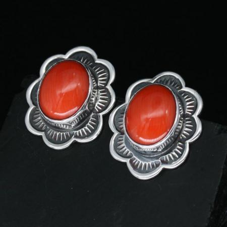Coral Flower Stud Earrings by Jennifer Medina, Kewa Pueblo tribe.