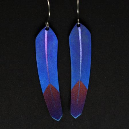 Feather earrings by Pat Pruitt