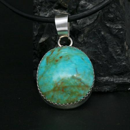 Kingman Turquoise Pendant by Dana Chavez, Kewa Pueblo