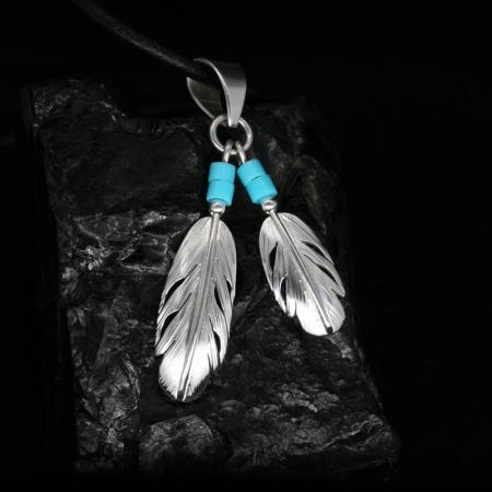 Silver Feathers Pendant with Turquoise by Harvey Chavez
