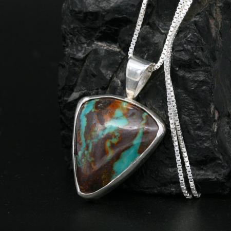 Boulder turquoise pendant by H & J Chavez