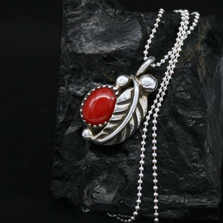 Red Coral Pendant by James B Eustace, Cochiti