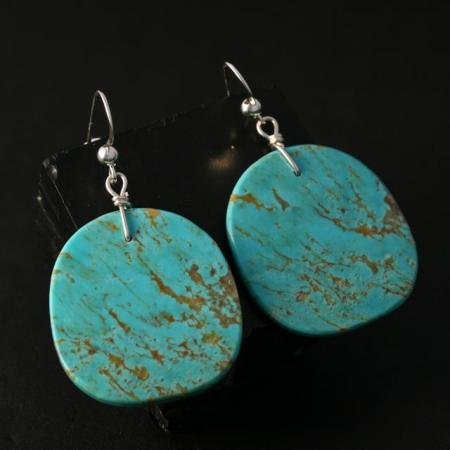 Kingman Turquoise Slab Earrings by Jennifer Medina