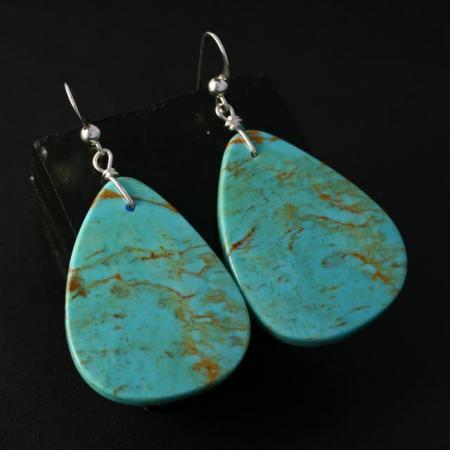 Traditional Turquoise Slab Earrings by Jennifer Medina, Kewa