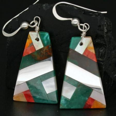 Mosaic Earrings by Stephanie & Tanner Medina, Kewa Pueblo
