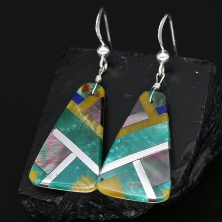 Green Mosaic Earrings by Stephanie & Tanner Medina, Kewa