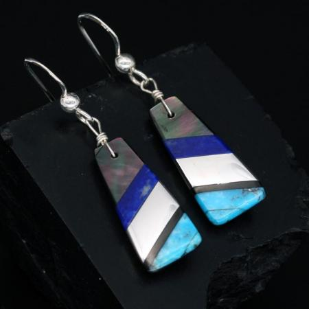 Blue Mosaic Earrings by Stephanie & Tanner Medina