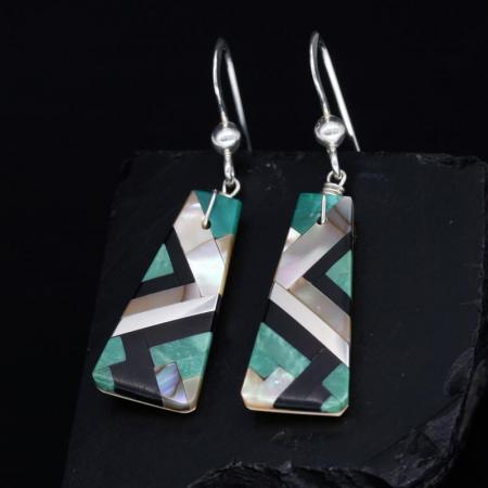 Green Inlay Earrings by Stephanie Medina, Kewa