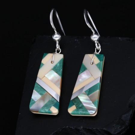 Kewa Inlay Earrings, Green by Stephanie Medina