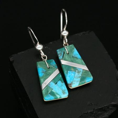 Turquoise Mosaic Earrings by Stephanie Medina, Kewa