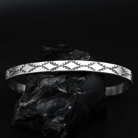 Stamped Sterling Silver Bracelet By James A Eustace, Cochiti Pueblo