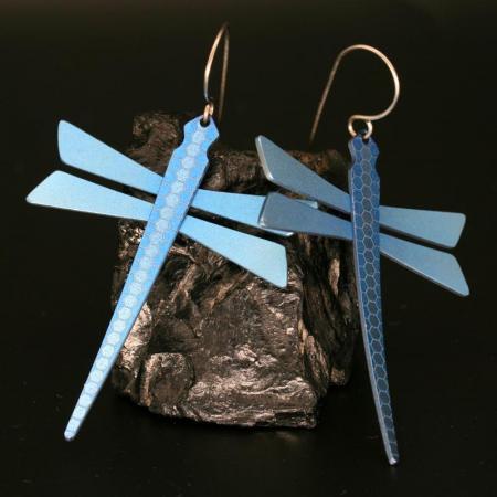 Blue Dragonfly Earrings by Pat Pruitt