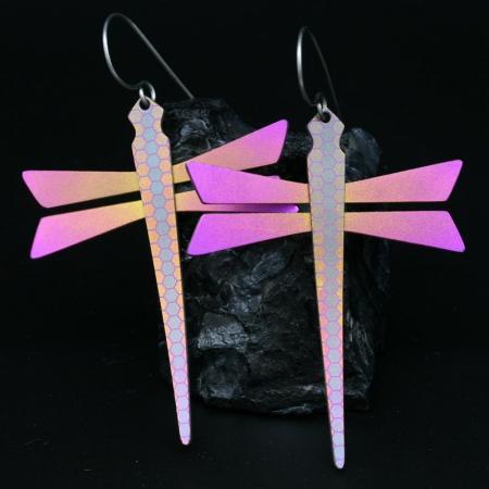 Pink Dragonfly Earrings by Pat Pruitt