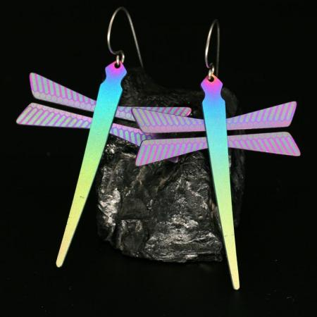 Colourful Dragonfly Earrings by Pat Pruitt