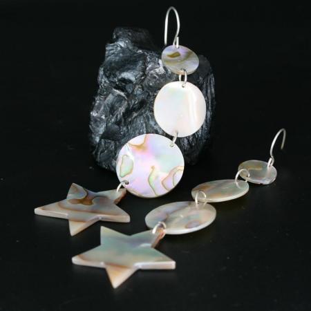 Moons & Stars Abalone Earrings By Leah Mata Fragua