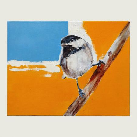 Bird titled 'With The Horizon', oil on canvas by Del Curfman