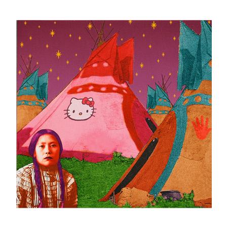Hello Kitty Tipi, digital print by Debra Yepa-Pappan