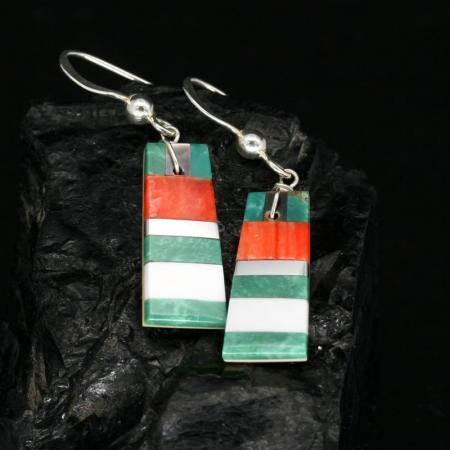 Green stripe inlay earrings by Tanner Medina