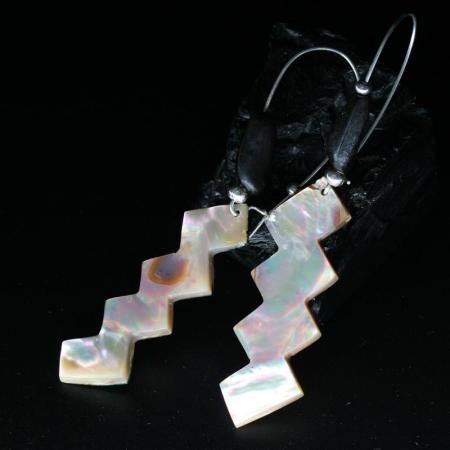 Chumash Design Abalone Earrings by Leah Mata