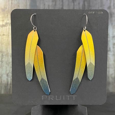 Yellow Tech Feather Earrings, Double, by Pat Pruitt