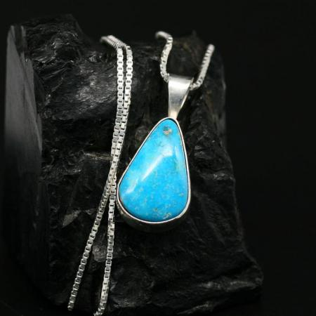 Turquoise & Silver Pendant by Janie Chavez