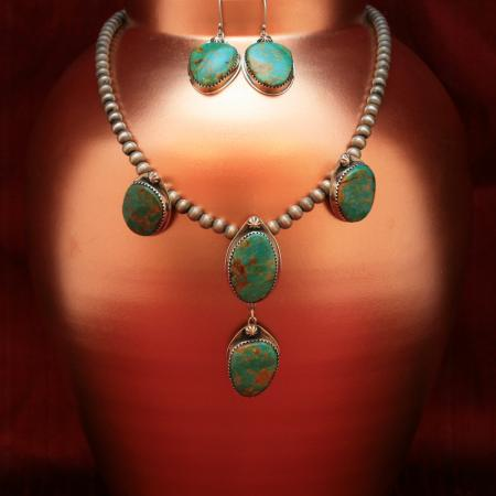Kingman Arizona turquoise and sterling silver necklace & Earrings by Annalisa Martinez
