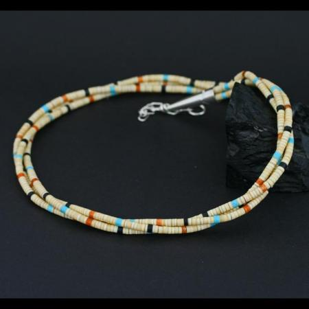 Three strand heishi necklace with melon shell