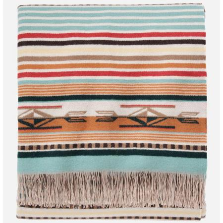 Chimayo throw, aqua coral