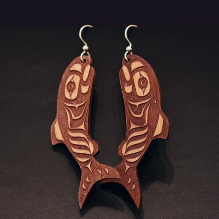 Salmon earrings by Crystal Worl